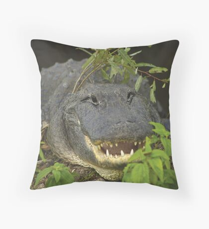 Alligator with hat of weeds Throw Pillow