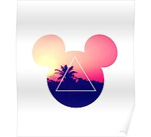 Neon Disney Mickey Ears  Poster