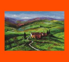 TUSCANY LANDSCAPE WITH GREEN HILLS Kids Tee