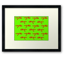 Toothy Fish (green) Framed Print