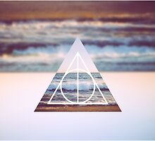 Harry Potter Deathly Hallows Triangle Symbol Photo Beach by hocapontas