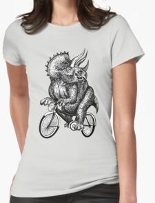 Triceratops Ride Bicycle  Womens Fitted T-Shirt