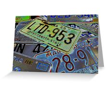 Abstract License Plates Greeting Card
