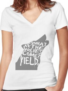 what if the wolves come? Women's Fitted V-Neck T-Shirt
