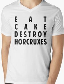 EAT CAKE DESTROY HORCRUXES Mens V-Neck T-Shirt