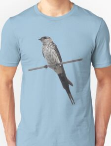 Red-Rumped Swallow Vector Isolated Against Blue Unisex T-Shirt