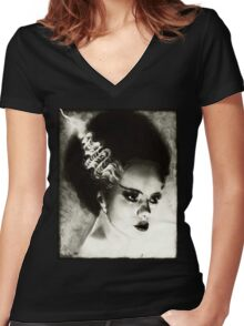 Bride of Frankenstein Women's Fitted V-Neck T-Shirt