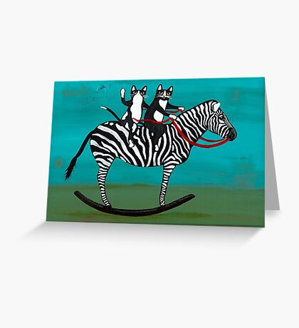 Cats on a Rocking Zebra Greeting Card