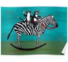 Cats on a Rocking Zebra Poster