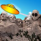UFO Over Mount Rushmore by robertemerald