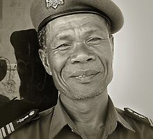 Cambodian soldier by Rosalie Dale