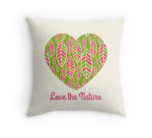 Love the nature. Patterned decorative heart .  Throw Pillow