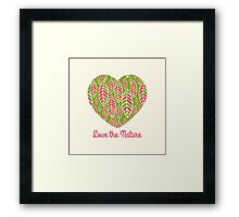 Love the nature. Patterned decorative heart .  Framed Print