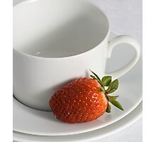 Cup, Saucer and Strawberry Photographic Print