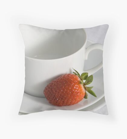 Cup, Saucer and Strawberry Throw Pillow