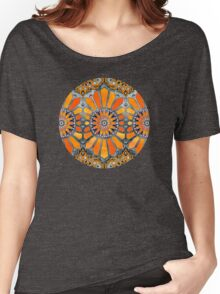 Celebrating the 70's - tangerine orange watercolor on grey Women's Relaxed Fit T-Shirt