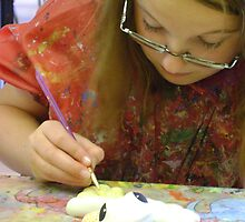 patiently painting pottery - Ella by armadillozenith