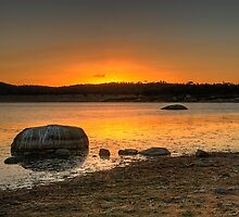 Sunset over Leslie Dam by Claire  Farley
