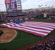 Philadelphia Phillies Opening Day with the American Flag by PugDronePhotos