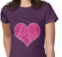 Digital Love Heart Printed Circuit Board Design Womens Fitted T-Shirt