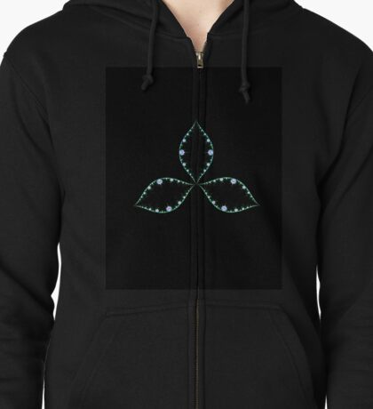 Shamrock with a touch of pink Zipped Hoodie
