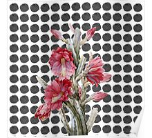 Watercolor Floral Cactus on Black White Polka Dots Poster