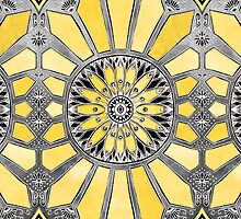 Sunny Yellow Radiant Watercolor Pattern by micklyn
