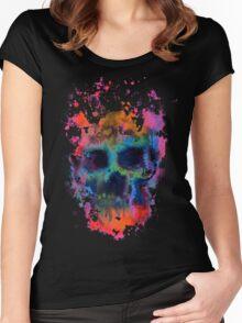 Splatter and Bone on Black Women's Fitted Scoop T-Shirt