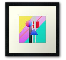 Bright Neon Colorful Geometric Shapes Pattern Framed Print