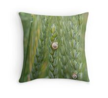Snails on Wheat Plant Throw Pillow