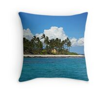 Paradise beach and white clouds Throw Pillow