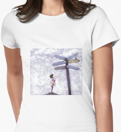 Which Way? dark hair Womens Fitted T-Shirt