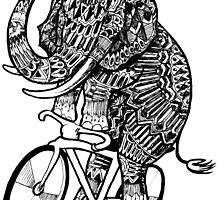 Elephant Aztec on a Bicycle  by toshibung