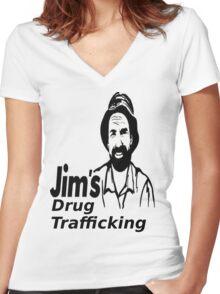 Jim's Drug Trafficking Women's Fitted V-Neck T-Shirt