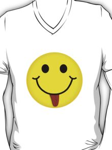 Smiley Face With Pierced Tongue V-Neck T-Shirt T-Shirt