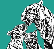 tiger and cubs by mindgoop