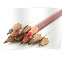 White and Red Pencils Poster