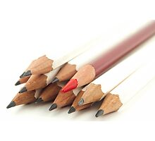 White and Red Pencils Photographic Print