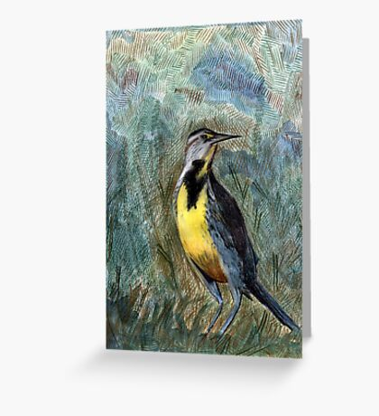 105 - WESTERN MEADOWLARK - DAVE EDWARDS - COLOURED PENCILS & WATERCOLOUR - 2003 Greeting Card