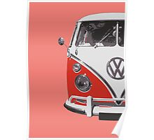 Red VW Camper Poster