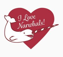 I Love Narwhals Heart One Piece - Short Sleeve