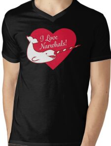 I Love Narwhals Heart Mens V-Neck T-Shirt