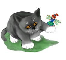 Fairy Sits on Cat Paw by NineLivesStudio