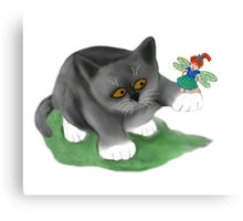Fairy Sits on Cat Paw Canvas Print