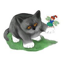 Fairy Sits on Cat Paw Photographic Print