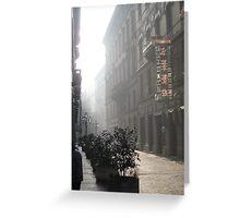 Foggy street in Torino, Piemonte, Italy Greeting Card