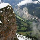 Wengen with Lauterbrunnen valley below by mjdennison