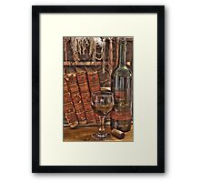 A Good Book and Wine Framed Print