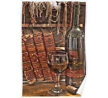 A Good Book and Wine Poster