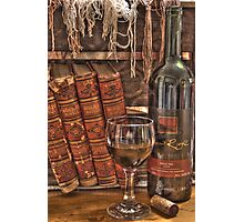 A Good Book and Wine Photographic Print